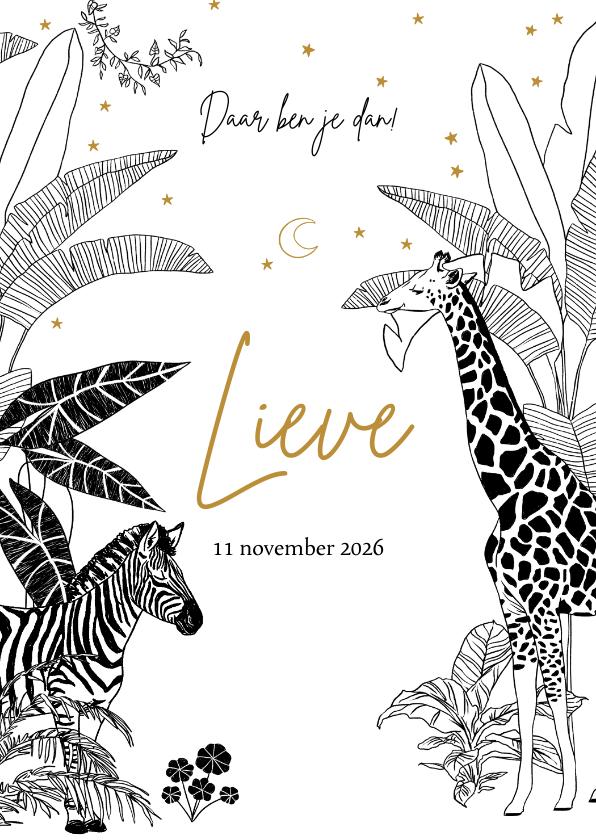 Geboortekaartjes - Geboortekaartje jungle thema met zebra en giraffe