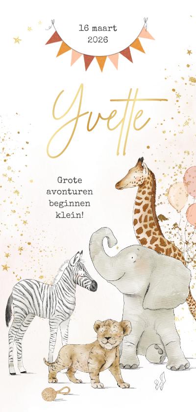 Geboortekaartjes - Geboortekaartje jungledieren watercolour goudlook vlaggen