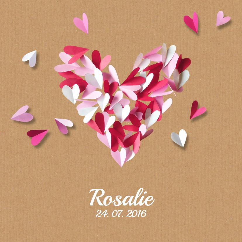 Geboortekaartjes - Geboortekaartje karton hart roze