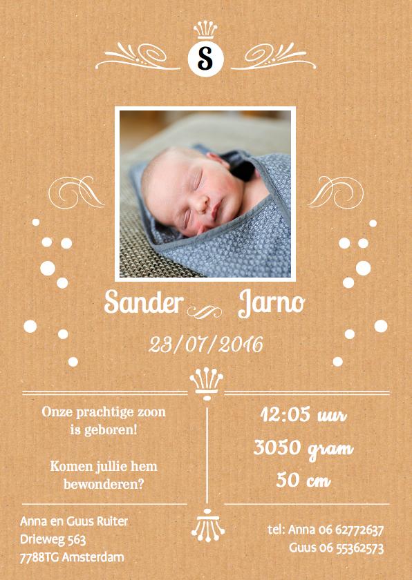 Geboortekaartjes - Geboortekaartje karton hip met foto