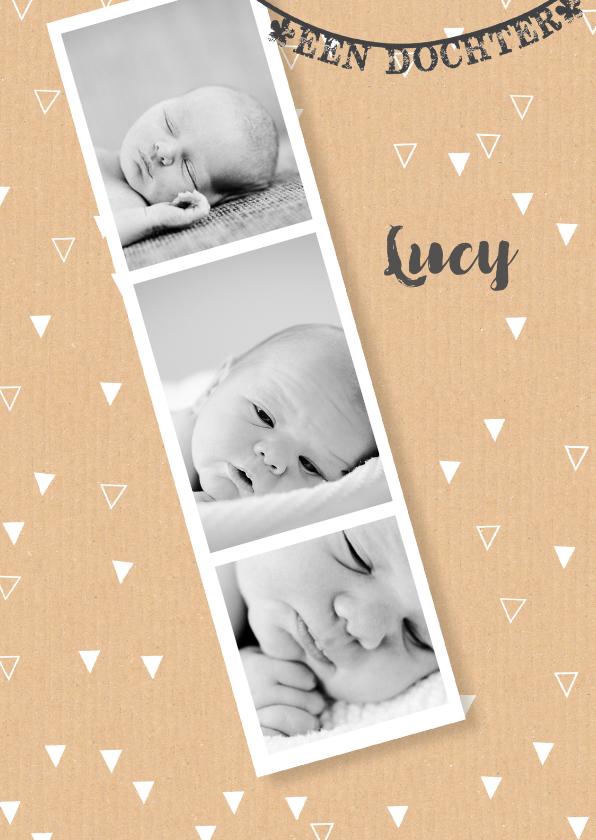 Geboortekaartjes - Geboortekaartje karton pasfoto