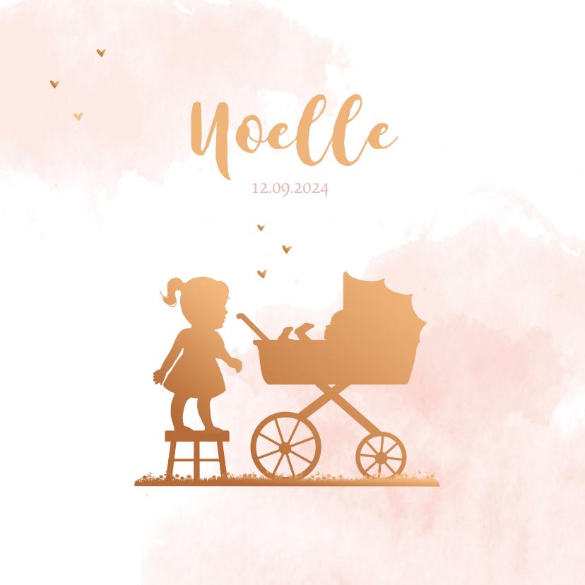 Geboortekaartjes - Geboortekaartje kinderwagen met zusje silhouet