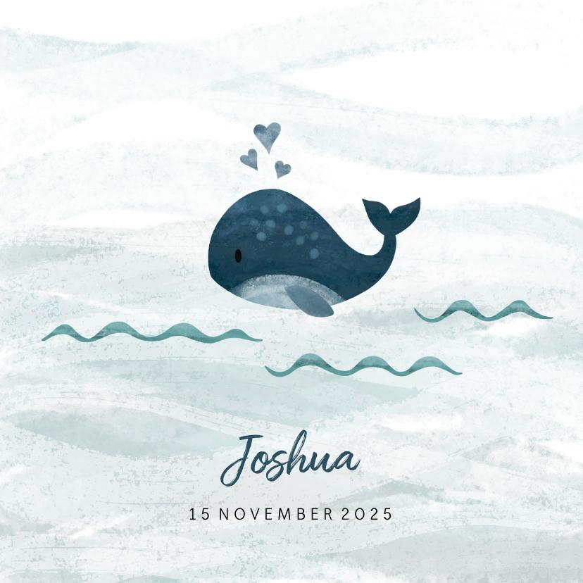 Geboortekaartjes - Geboortekaartje kleine walvis met hartjes blauw