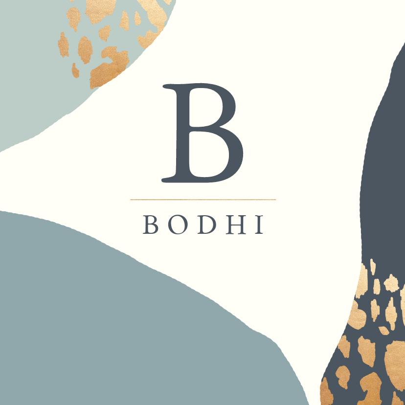 Geboortekaartjes - Geboortekaartje kleurvlakken panterprint blauw