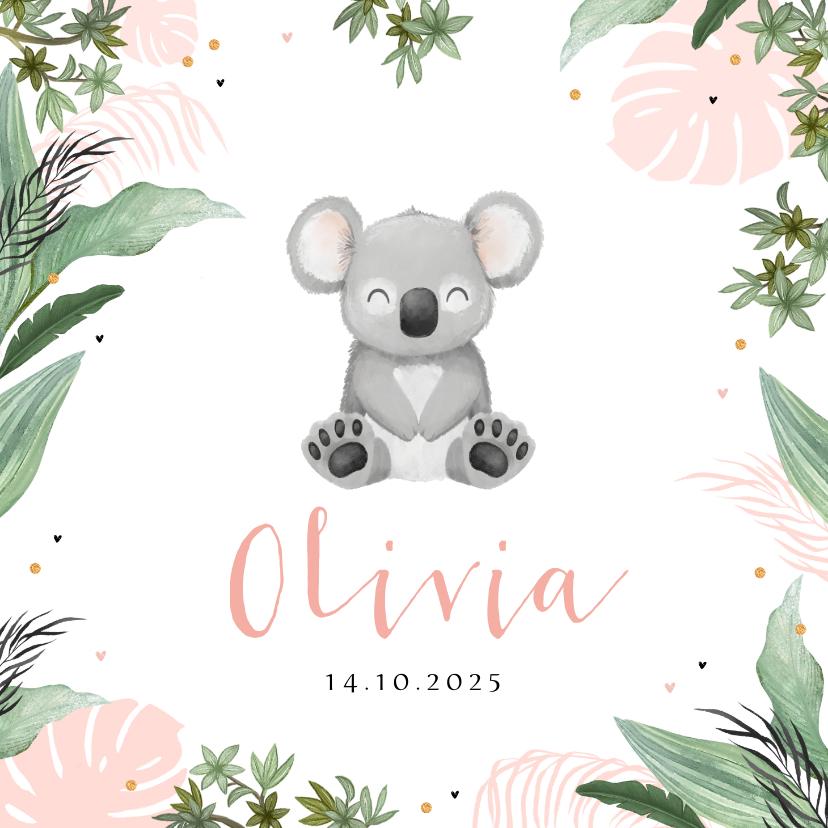 Geboortekaartjes - Geboortekaartje koala jungle meisje hartjes