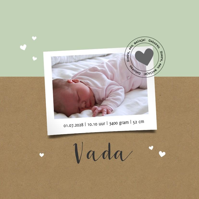 Geboortekaartjes - Geboortekaartje kraft polaroid hartje