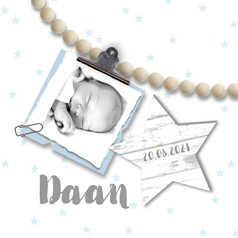Geboortekaartjes - Geboortekaartje foto kralen sterren jongen