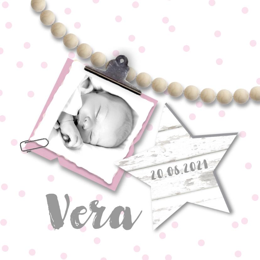 Geboortekaartjes - Geboortekaartje foto kralen sterren meisje