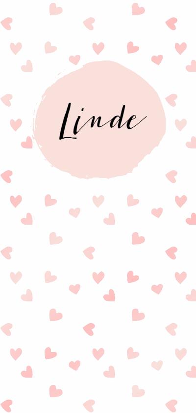 """Geboortekaartjes - Geboortekaartje lang """"roze hartjes"""" - WW"""