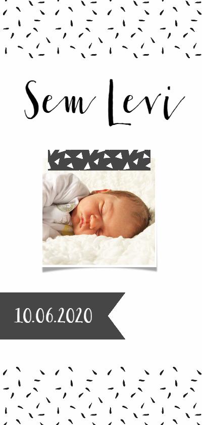 Geboortekaartjes - Geboortekaartje lang zwartwit label