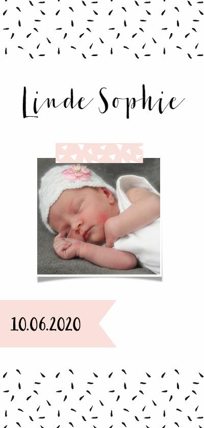 Geboortekaartjes - Geboortekaartje lang zwartwit roze label