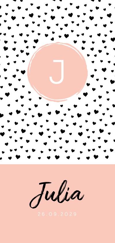 Geboortekaartjes - Geboortekaartje langwerpig hartjes zwart