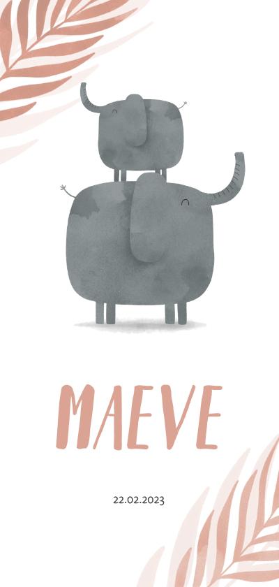 Geboortekaartjes - Geboortekaartje langwerpig olifant zusje jungle