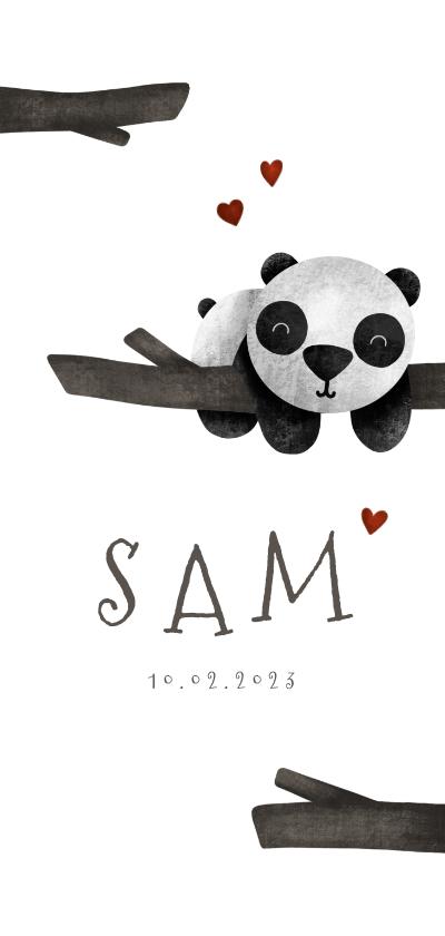 Geboortekaartjes - Geboortekaartje langwerpig panda met takjes lief