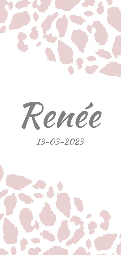 Geboortekaartjes - Geboortekaartje langwerpig panterprint roze