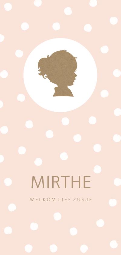 Geboortekaartjes - Geboortekaartje langwerpig silhouet meisje