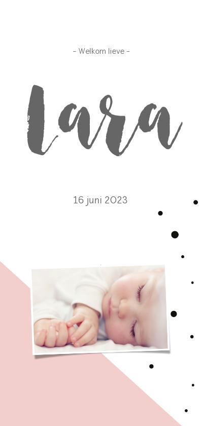 Geboortekaartjes - Geboortekaartje_Lara_stippen