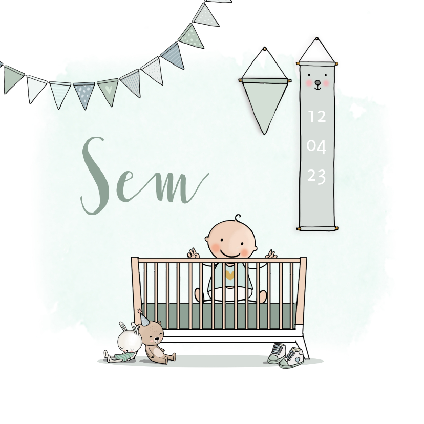 Geboortekaartjes - Geboortekaartje ledikant groen met baby