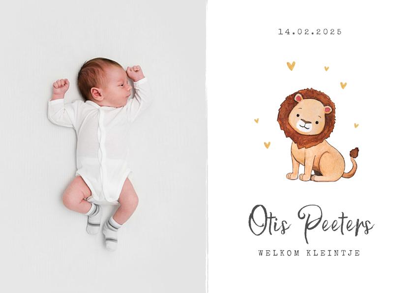 Geboortekaartjes - Geboortekaartje leeuw hartjes goud foto waterverf