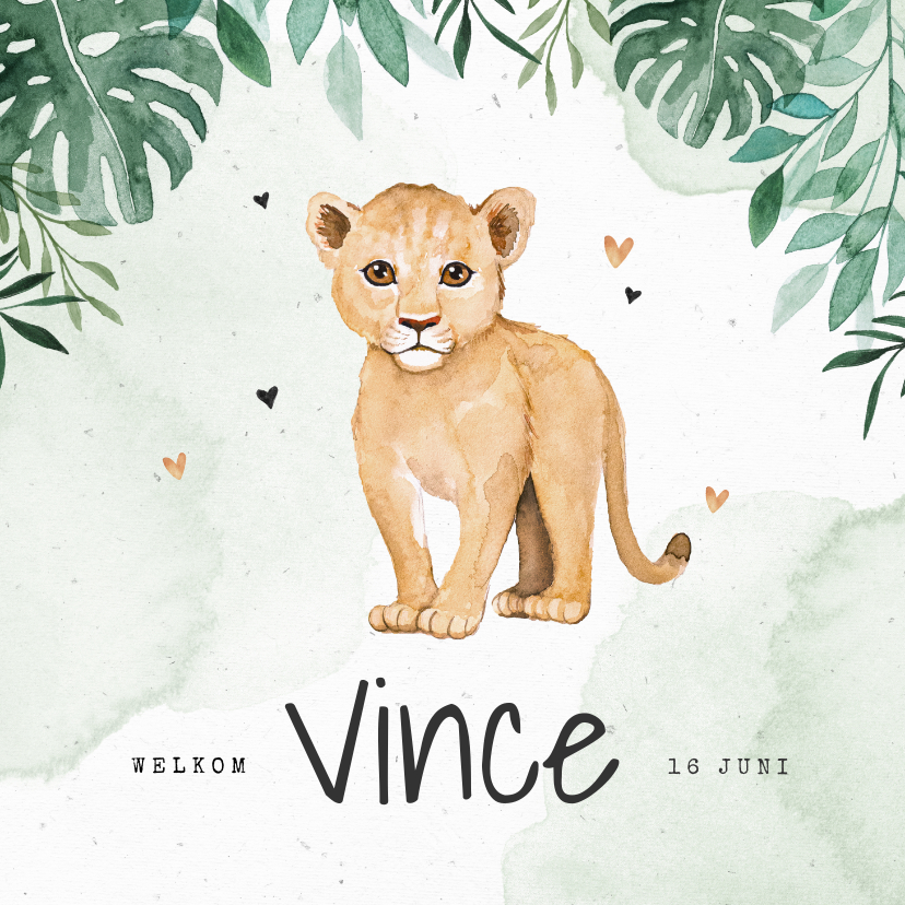Geboortekaartjes - Geboortekaartje leeuw jungle botanisch waterverf