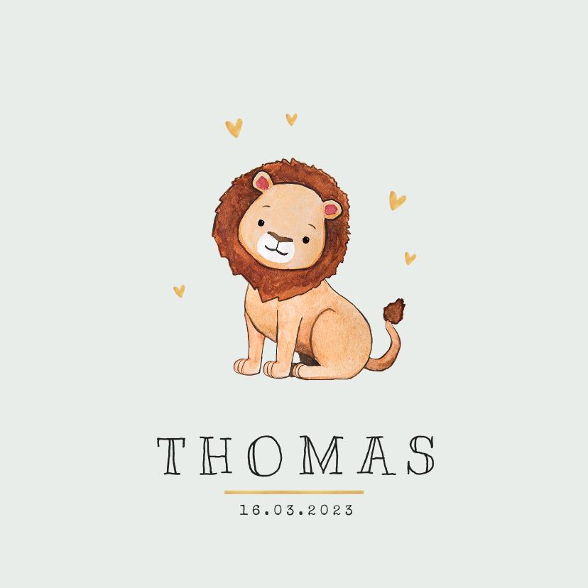 Geboortekaartjes - Geboortekaartje leeuw jungle lief hartjes goud foto