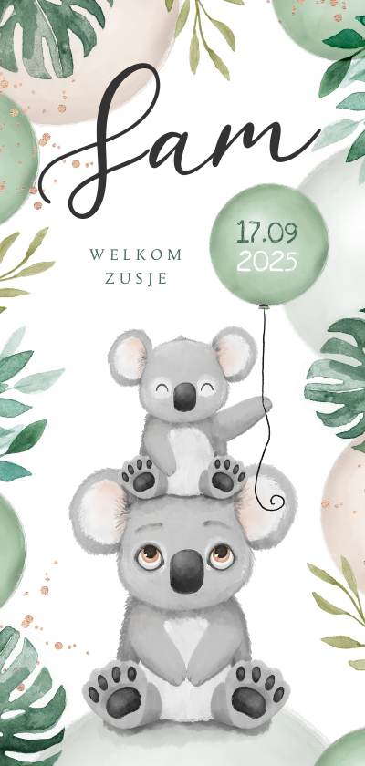 Geboortekaartjes - Geboortekaartje lief broertje zusje unisex koala dieren