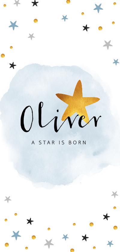 Geboortekaartjes - Geboortekaartje lief en stijlvol met sterretjes en waterverf