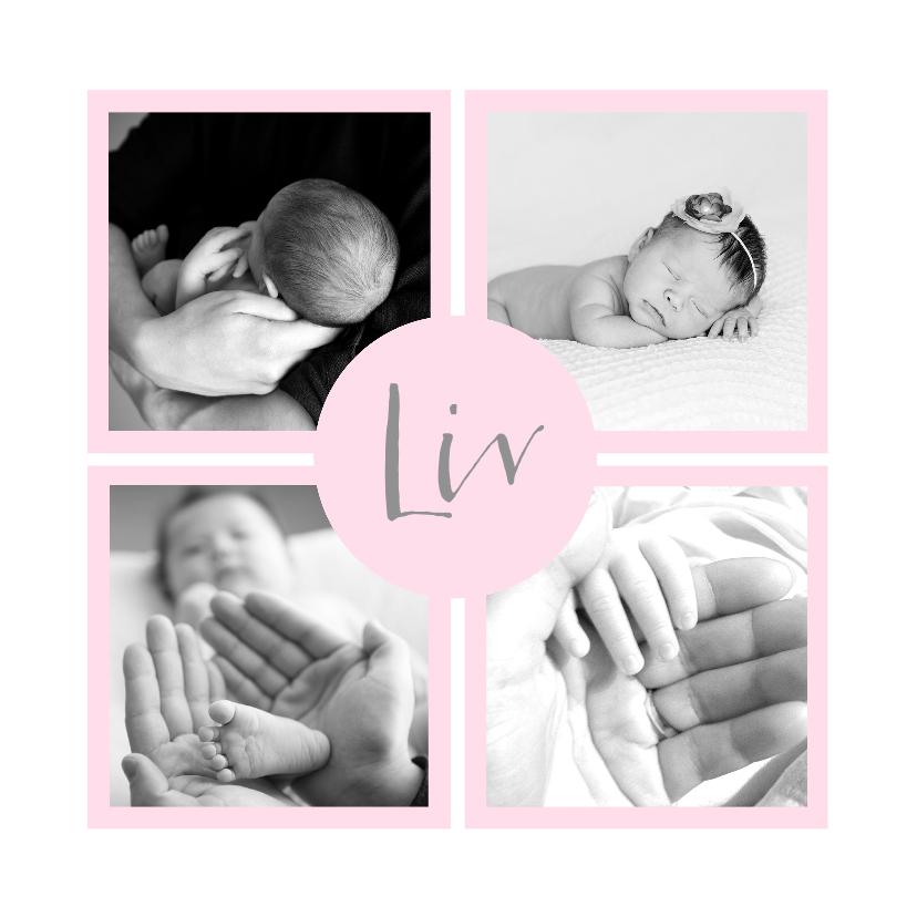 Geboortekaartjes - Geboortekaartje vakjes foto's roze meisje
