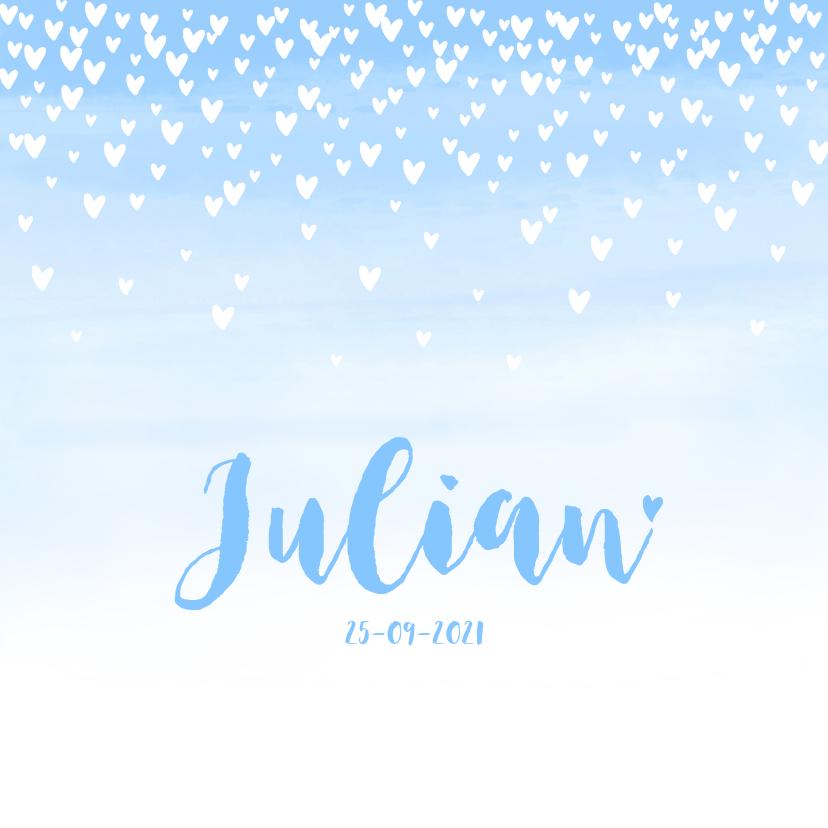 Geboortekaartjes - Geboortekaartje lief hartjes aquarel lichtblauw