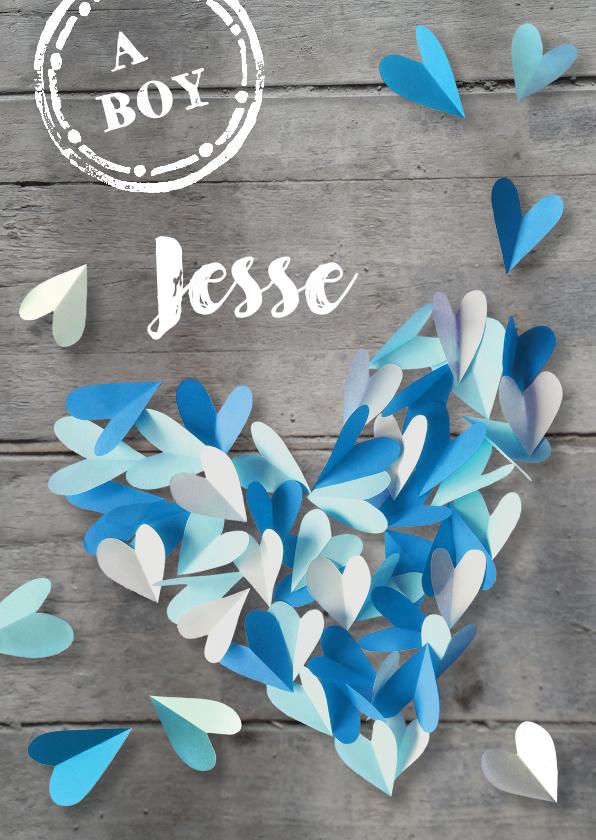 Geboortekaartjes - Geboortekaartje  hout hartjes jongen blauw