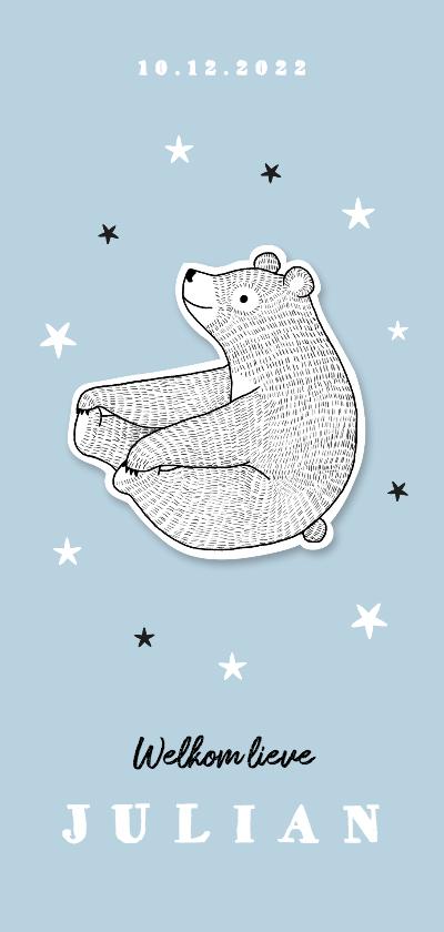 Geboortekaartjes - Geboortekaartje lief jongen met beertje en sterren