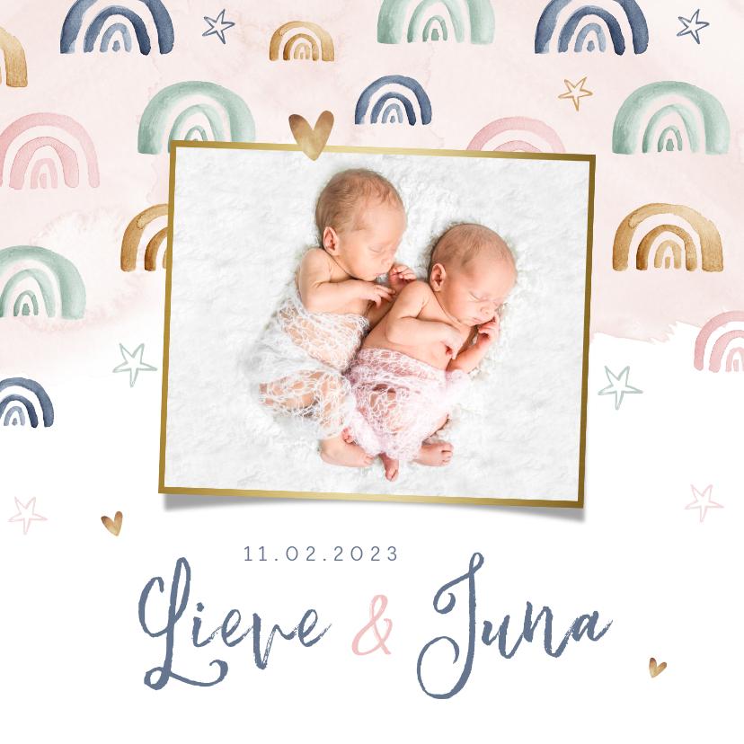 Geboortekaartjes - Geboortekaartje lief meisje regenboog tweeling waterverf