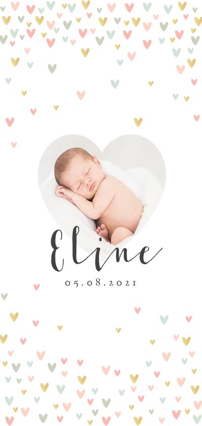 Geboortekaartjes - Geboortekaartje lief met hartjes en eigen foto