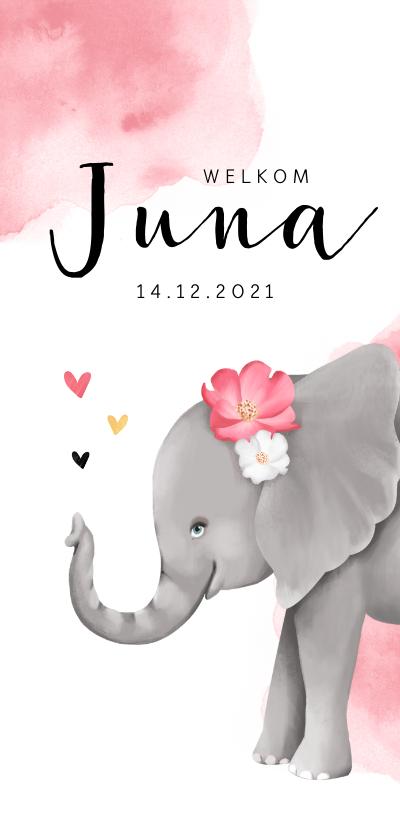 Geboortekaartjes - Geboortekaartje lief met olifantje voor meisje