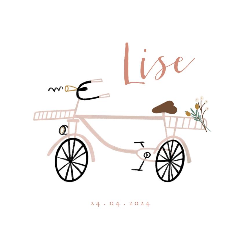 Geboortekaartjes - Geboortekaartje lief met roze fiets en boeketje