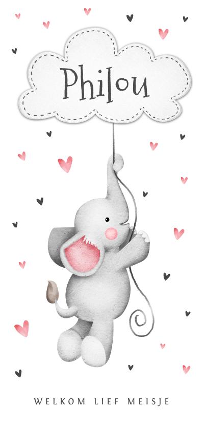 Geboortekaartjes - Geboortekaartje lief olifantje hartjes wolkje
