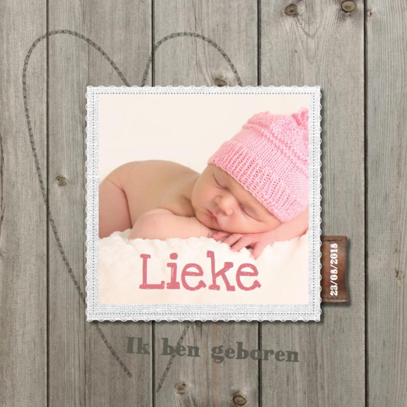 Geboortekaartjes - Geboortekaartje Lieke- hout design