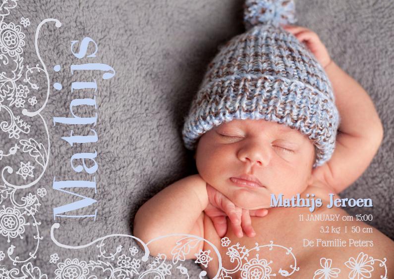 Geboortekaartjes - Geboortekaartje Lijn Bloem Blauw