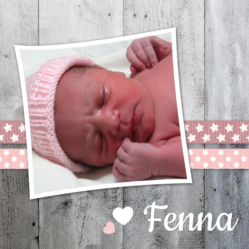 Geboortekaartjes - Geboortekaartje Lintjes Hout