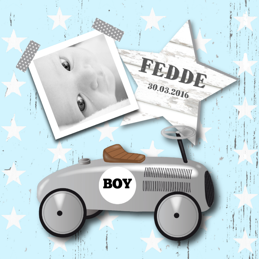 Geboortekaartjes - Geboortekaartje loopauto jongen