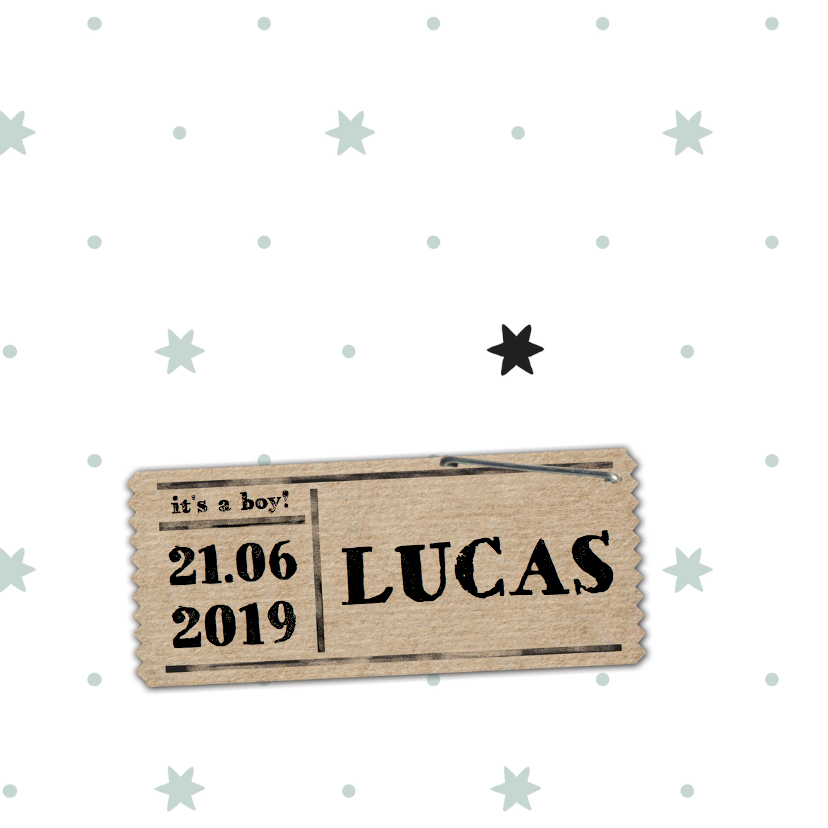 Geboortekaartjes - Geboortekaartje Lucas clean sterren- LO