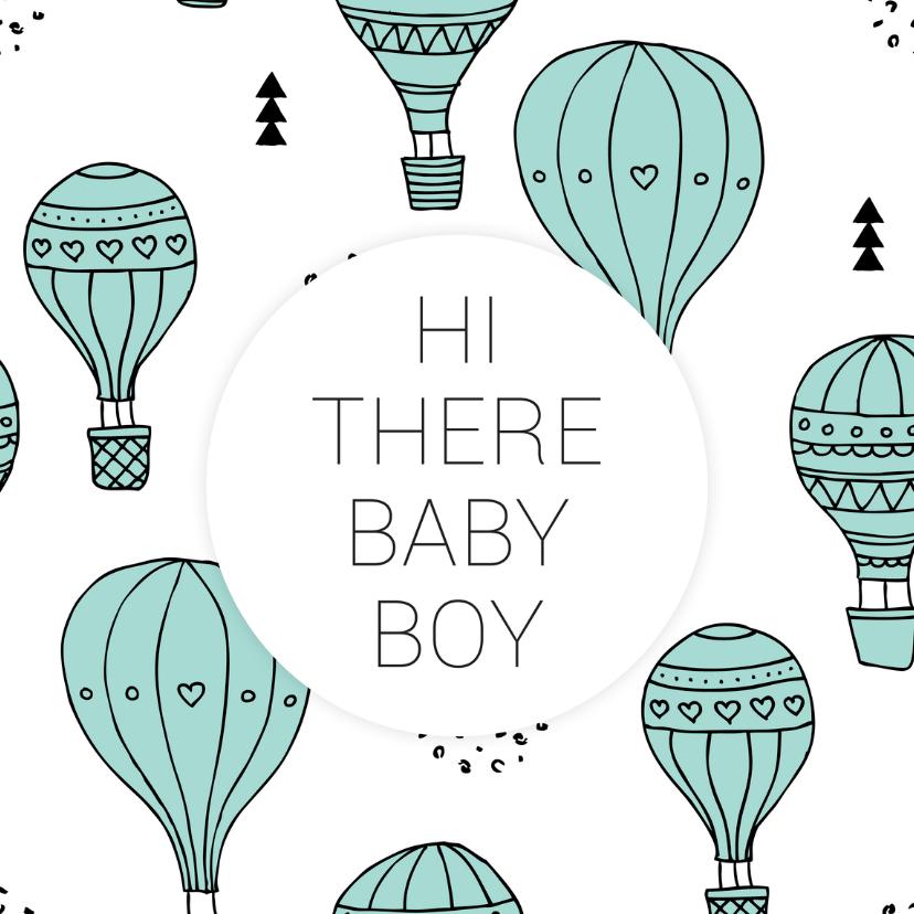 Geboortekaartjes - Geboortekaartje luchtballon boy
