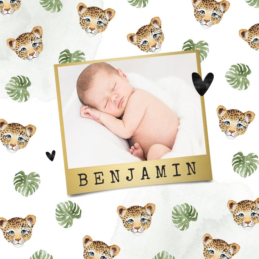 Geboortekaartjes - Geboortekaartje luipaard botanisch foto waterverf