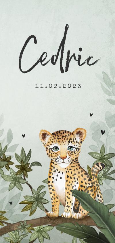 Geboortekaartjes - Geboortekaartje luipaard botanisch jungle groen