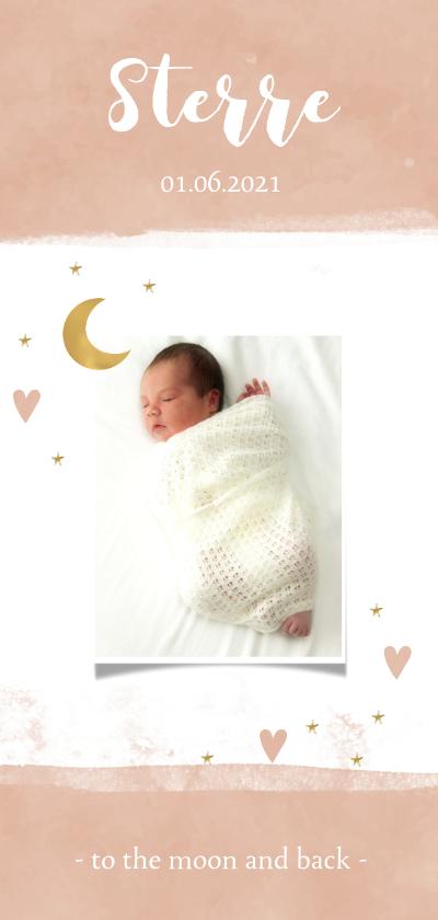 Geboortekaartjes - Geboortekaartje maan meisje