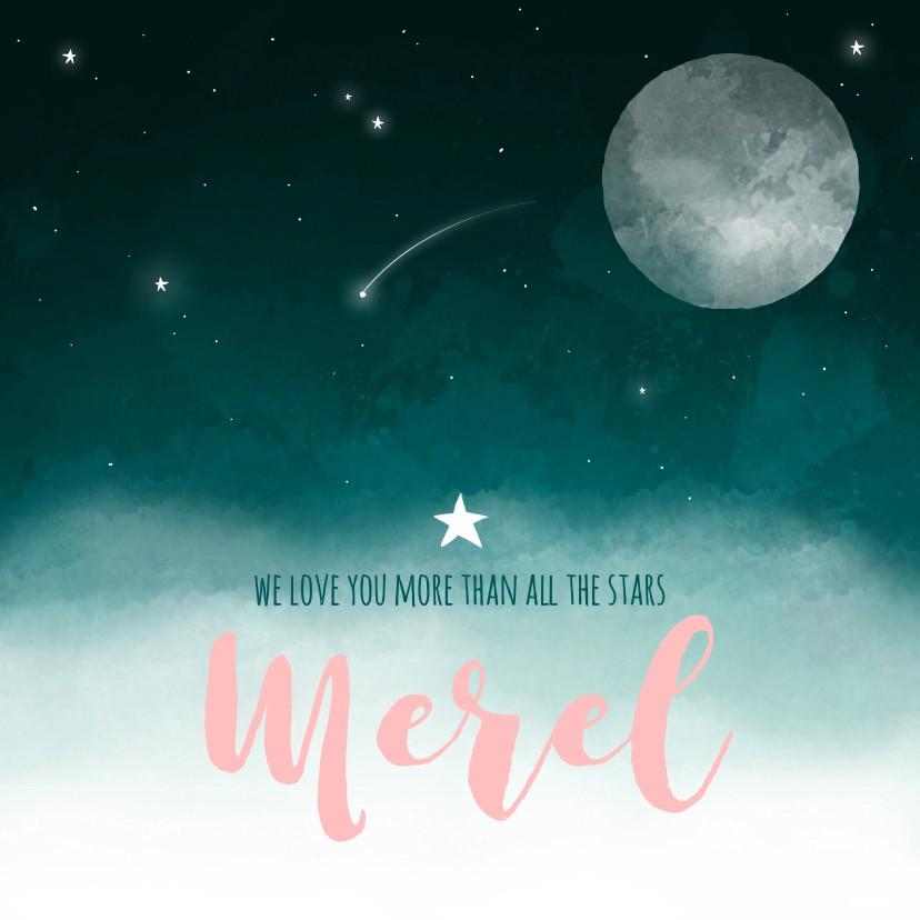Geboortekaartjes - Geboortekaartje maan sterren wolken meisje