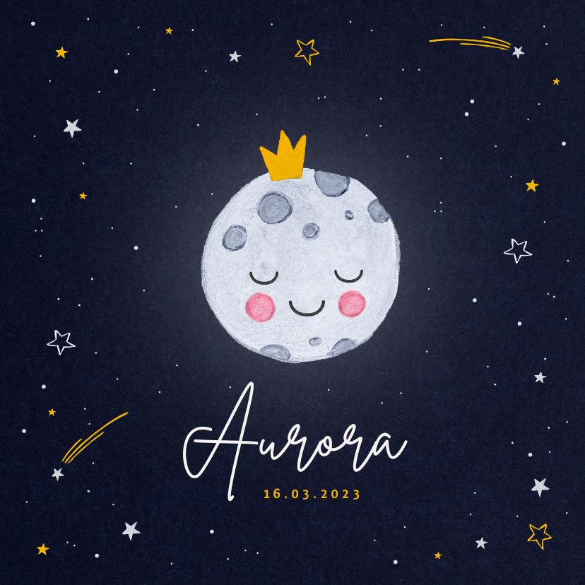 Geboortekaartjes - Geboortekaartje maan sterretjes kroontje universum