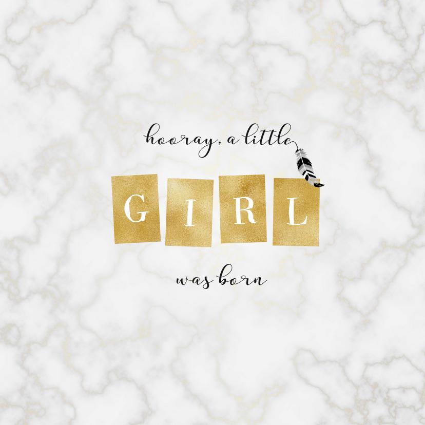 Geboortekaartjes - Geboortekaartje marmer met gouden hartjes