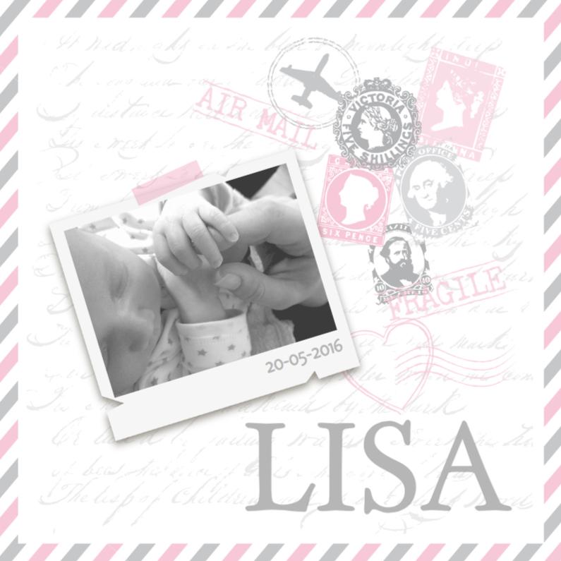 Geboortekaartjes - Geboortekaartje Meisje Airmail