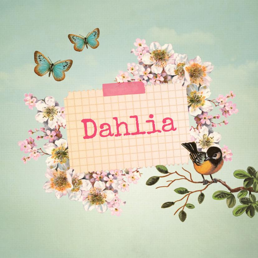 Geboortekaartjes - Geboortekaartje meisje bloemen vlinders